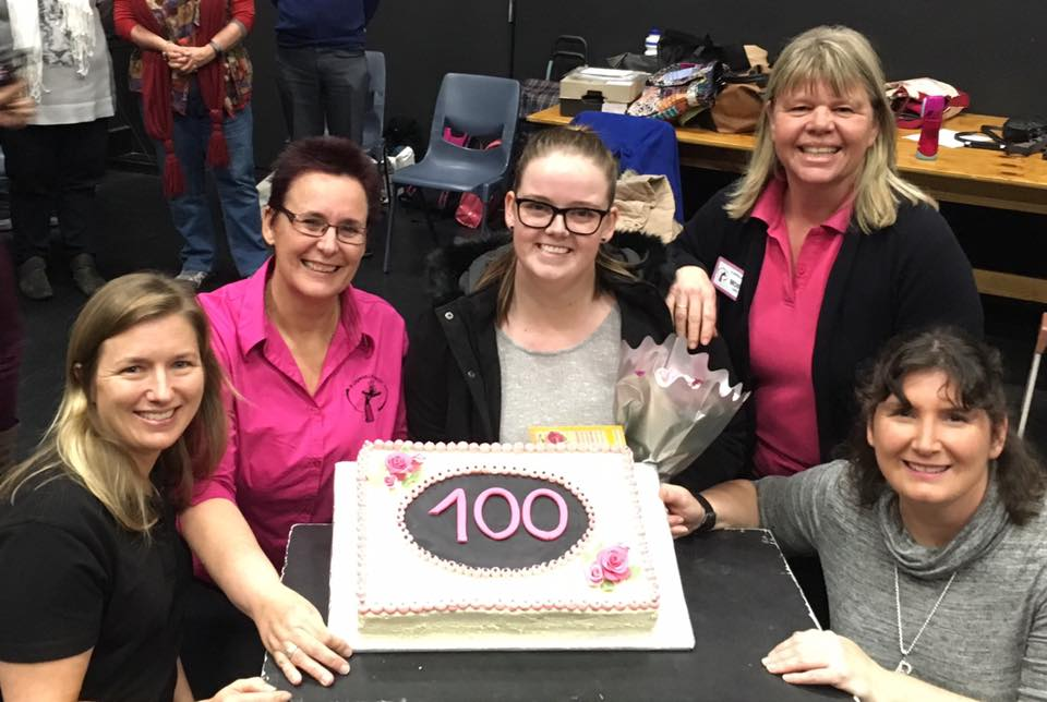Linda, Lindsey, 100th member Hannah, Moira and Jo